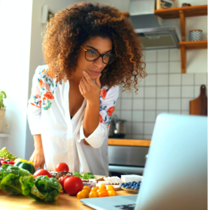 A woman searching for new recipes online