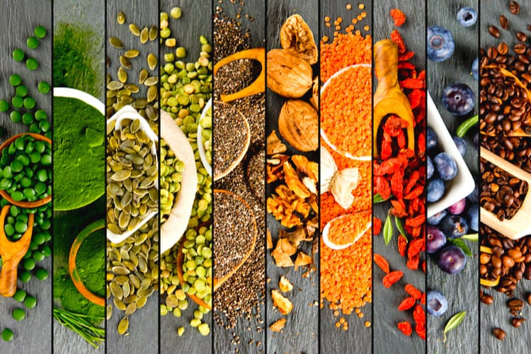 Collage of different healthy foods